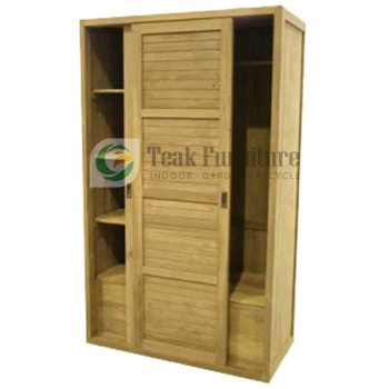Slattes Wardrobe Whit Slidding Door